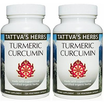 Turmeric Curcumin Extract 500 mg. 240 Vcaps (2 Pack- 120 ct./ea). no Hexane or Toxins