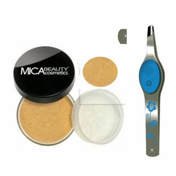 Bundle 2 Items: 1x Mica Beauty Mineral Foundation 9 Gr Mf-7 Lady Godiva +Floral Blue Led Lighted Tweezers