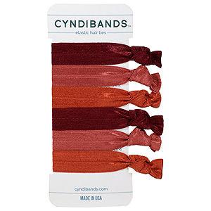 CyndiBands Set of 6 Hair Ties, Auburn, .3 oz