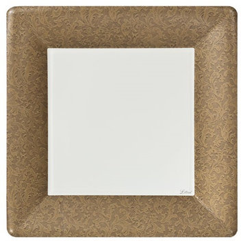 King Zak Ind Lillian Tablesettings 23015 Gold Texture 10 in. Square Dinner Paper Plates - 576 Per Case
