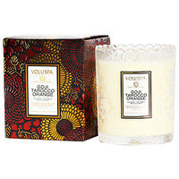 Voluspa Japonica Collection Limited Holiday Edition Scalloped Edge Glass Candle 50 hr, Goji & Tarocco Orange, 6.2 oz