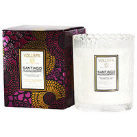 Voluspa Japonica Collection Limited Holiday Edition Scalloped Edge Glass Candle 50 hr, Santiago Huckleberry, 6.2 oz