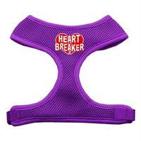 Mirage Pet Products 7029 MDPR Heart Breaker Soft Mesh Harnesses Purple Medium
