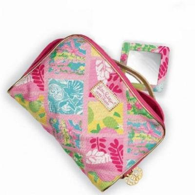 Lilly Pulitzer Cosmetic Bag in Lilly Patch with Matching Mirror Estee Lauder Exclusive