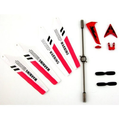 Full Set Replacement Parts for Syma S107 RC Helicopter, Main Blades, Tail Decorations, Tail Props, Balance Bar, -Red Set-