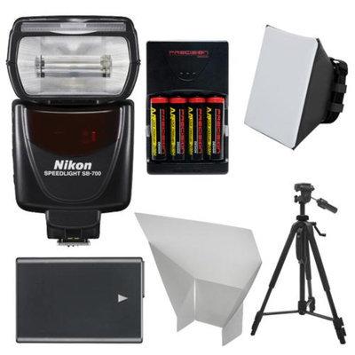 Nikon SB-700 AF Speedlight Flash with EN-EL14 & AA Batteries + Tripod + Softbox + Reflector for D3100, D3200, D3300, D5100, D5200, D5300 Digital SLR Camera