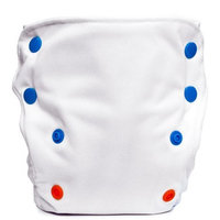 Babykicks 3G Pocket Diaper, White/Multicolored Snaps