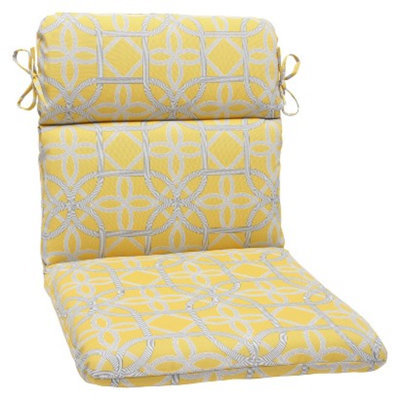 Pillow Perfect Outdoor Round Edge Chair Cushion - Yellow/Gray Keene