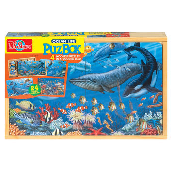 Shure Ocean Life 4 Large Puzzles in a Wooden Box (24 pc)