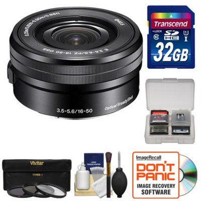 Sony Alpha E-Mount 16-50mm f/3.5-5.6 OSS PZ Lens with 32GB Card + Case + 3 Filters + Kit for A7, A7R, A7S, A3000, A5000, A5100, A6000 Cameras