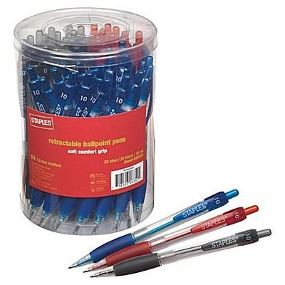 Staples Retractable Ballpoint Pens, Assorted 50/Pack