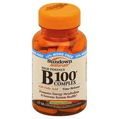 Sundown Naturals Vitamin B100 Complex, High Potency, Time Release Caplets, 66 ct.