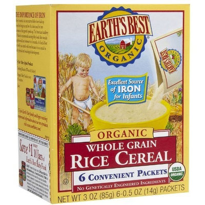 Earth's Best Organic Whole Grain Rice Cereal, 6-Count, .5-Ounce Boxes (Pack of 12)