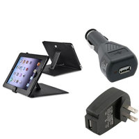 Insten INSTEN For iPad 1 Black Leather Cover Case+Wall+Car Charger