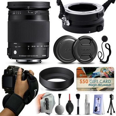 47th Street Photo Sigma 18-300mm F3.5-6.3 DC MACRO OS HSM C Lens for Canon (886101) with Exclusive Dual Lens Holder/Flipper + Wrist Strap + Cap Keeper + Deluxe Lens Cleaning Kit + $50 Gift Card for Prints