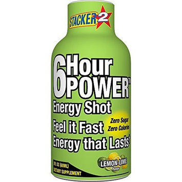Stacker 6 Hour Power Energy Shot - Lemon Lime, 2-Ounce Bottle (Pack of 12)