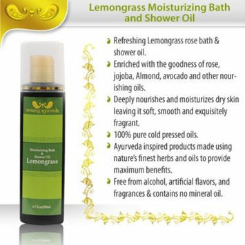 Amazing Ayurveda Moisturizing Bath & Shower Oil 6.7 Fl.oz - Made From 100% Pure Cold Pressed Oils - Free From Alcohol, Artificial Flavors and Fragrances - Contains No Mineral Oils (Lemongrass)