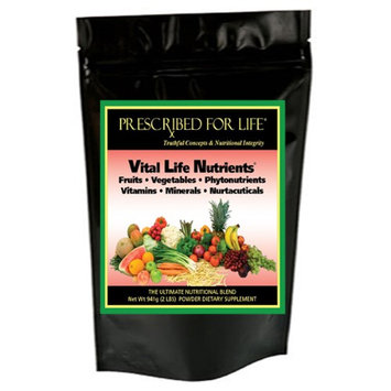 Prescribed For Life Vital Life Nutrients - The Complete & Ultimate Whole Food Meal Replacement Powder Drink Mix, 30 Servings