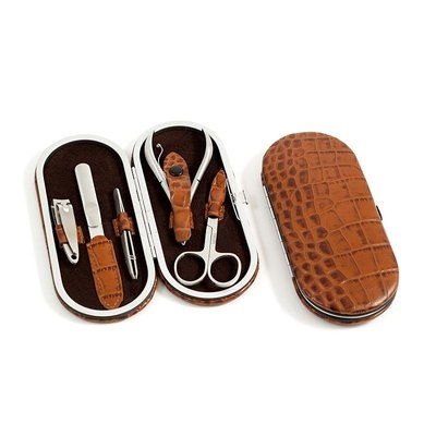 Kohls 5 Piece Manicure Set, Brown Croco Leather, BB199