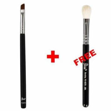 Bundle - Petal Beauty Travel size Small Angle makeup Brush + FREE $9 Value Eye Blending Brush (Matte)