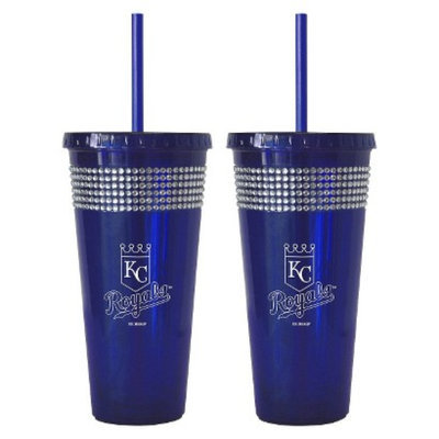 Boelter Brands MLB Reds Set of 2 Bling Straw Tumbler - 22oz