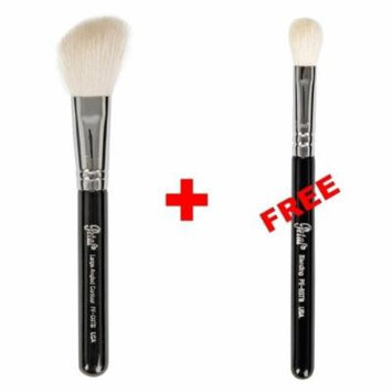 Bundle - Petal Beauty Travel size Large Angled Contour makeup Brush + FREE $9 Value Eye Blending Brush (Black)