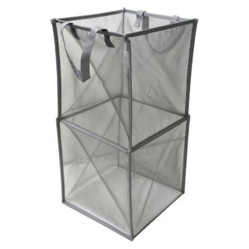 Threshold Room Essential Mesh Spiral Hamper Grey