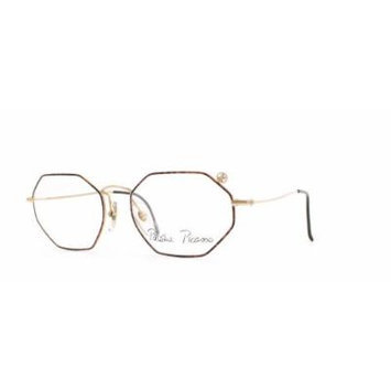 Paloma Picasso 3763 41 Gold and Red Authentic Women Vintage Eyeglasses Frame