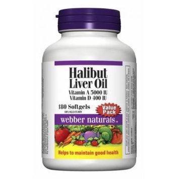 Webber Naturals Halibut Liver Oil Vitamin A and D 5000 IU/400 IU, 180 Softgels
