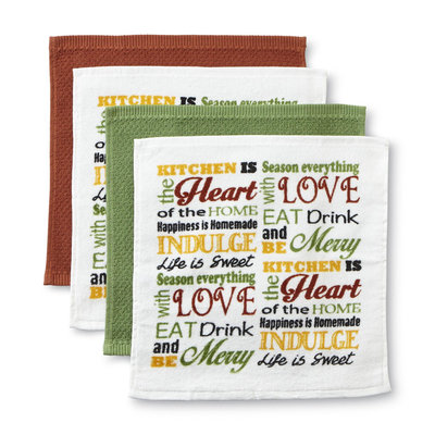 Franco Manufacturing Essential Home 4-Pack Happy Home Kitchen Dishcloths