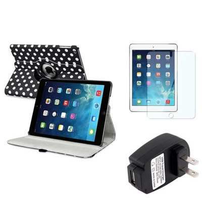 Insten INSTEN Black/White Polka Dot 360 Leather Case Cover+Protector+Charger For Apple iPad Air 5th