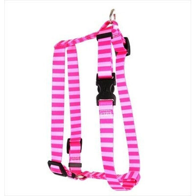 Yellow Dog Design H-PST103L Pink and Pink Stripe Roman Harness - Large