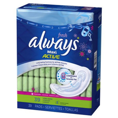Always Maxi Fresh Size 2 Long Super Pads without Wings Scented