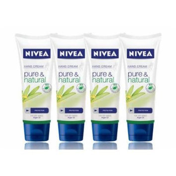 Nivea Pure & Natural Hand Cream 100ml X 4pcs - Contains Pure Organic Argan Oil