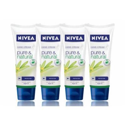 Nivea Pure & Natural Hand Cream 100ml X 4pcs - Contains Pure Organic Argan Oil