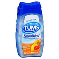 Tums Smoothies Extra Strength Assorted Fruit Antacid/Calcium Supplement, 60ct