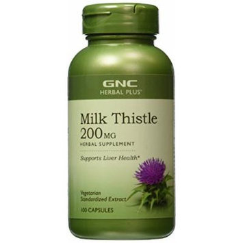 GNC Herbal Plus Milk Thistle, 200mg, Vegetarian Capsules 100 ea