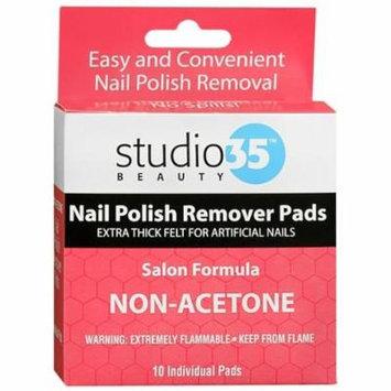 Studio 35 Nail Polish Remover Pads, Non-Acetone 10 ea