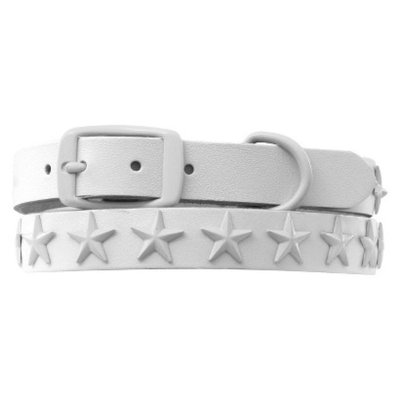 Platinum Pets White Genuine Leather Dog Collar with Stars - White