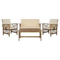 Safavieh Mykonos 4-Piece Wood Patio Conversation Furniture Set - Brown
