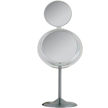 MSA37 Zadro Single-Sided Surround Light Pedestal Vanity Mirror with Folding Mini Mirror & Magnification