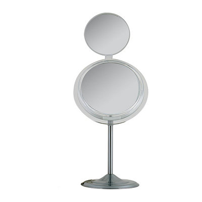 MSA37 Zadro Single-Sided Surround Light Pedestal Vanity Mirror with Folding Mini Mirror & Magnification