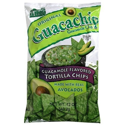 El Sabroso Guacachip, Guacamole Flavored Tortilla Chips, 12-Ounce Packages (Pack of 12)