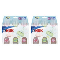 NUK First Choice Orthodontic Silicone Wide-Neck Bottle, Medium Flow, 10 Ounce, 3 Pack , Pink/Green, 6-Count (Discontinued by Manufacturer)