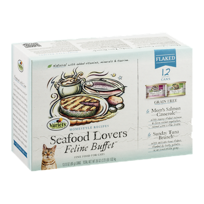 Variety Feline Buffet Cat Food Seafood Lovers Flaked - 12 CT