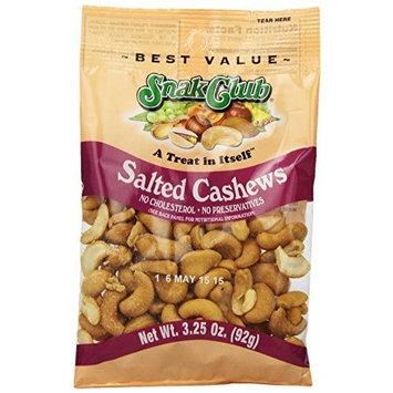 Snak Club Cashews, Salted, 3.25 Ounce (Pack of 6)