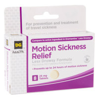 DG Health Less Drowsy Motion Sickness Relief - Tablets, 8 ct