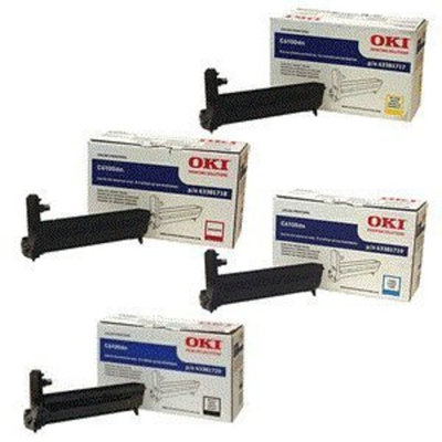 OKI Data GENUINE OKI C6100 DRUM CMYK SET 43381717, 43381718, 43381719, 43381720 Sealed In Retail Packaging