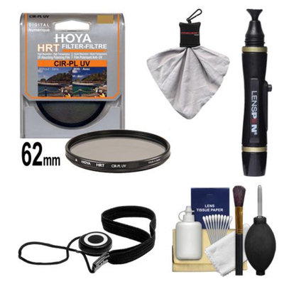 Hoya 62mm HRT Circular PL Polarizer UV Multi-Coated Glass Filter + Accessory Kit for Canon, Nikon, Sony, Olympus & Pentax Lenses