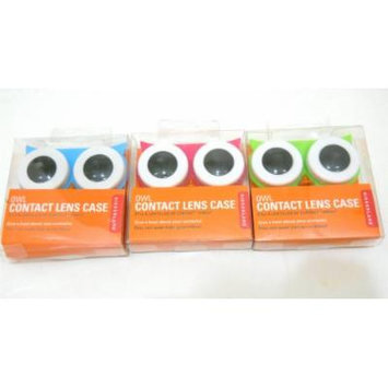 Set of 3 Kikkerland Owl Contact Lens Cases Pink Green Blue Great for Travel
